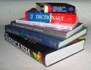 Picture representing resources - a pile of reference books